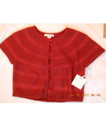 intuitions MOHAIR Royal Ruby Wool Spandex Sweater Jacket Top S Pearl But... - $24.24