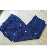 Alfred dunner Sz 10 Capri navy Pants Slacks Embroidered Daisy Flower Ela... - $28.49