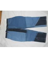 Ladies S Crop Capri Patch Blue Jeans Pants Zig Zag design Dark Lite Sq S... - $14.69