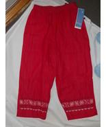 Koret City Blues Red Indigo Isle Size PP 4 Petite Embroidered Capri Pant... - $18.61