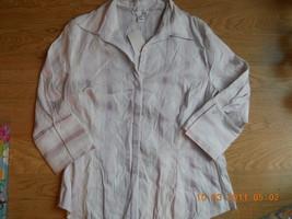 Ladies H&M Cotton Blend Button Up Blouse Light pink Stripe Size 16 Top S... - $14.69