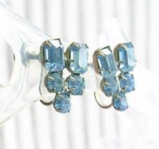 "Elegant Prong-set Ice Blue Silver-tone Screw-on Earrings 1950s vintage 3/4"" - $12.30"