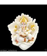 Hindu Elephant God / Ganesha Sitting on Leaf Nice Show Piece / Idol / St... - $19.99
