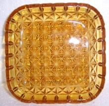 Vintag Depression Glass Amber Cubic Designed Ashtray - $30.80