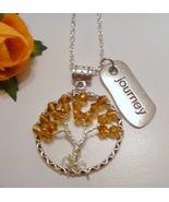 November Birthstone Topaz Crystal Tree of Life Necklace  Journey Charm  - $19.99