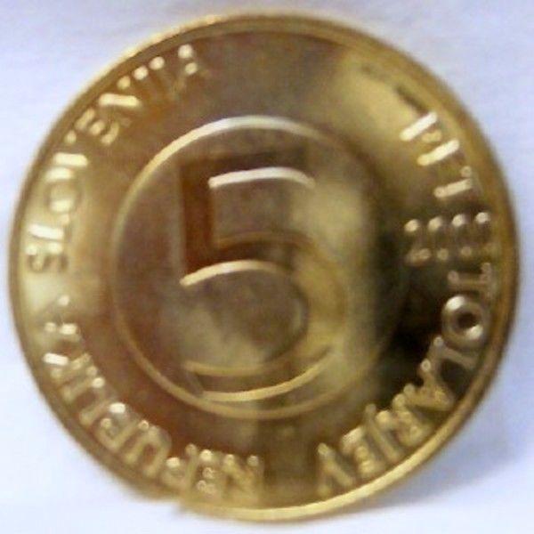 SLOVENIA 2000 IBEX GOAT HEAD HORN 5 T BRASS COIN Uncirculated