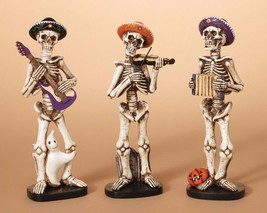 """DAY OF THE DEAD 9"""" HAND PAINTED SET OF 3 SKELETON FIGURINES PLAYING MUSIC - $28.88"""