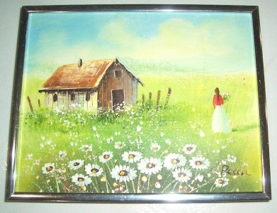"Vintage Art Painting On Masonite Board Untitled ""Girl in the field""' by RECCA"