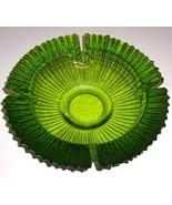 Vintage Blenko Large Round Avocado Green Ashtra... - $142.89