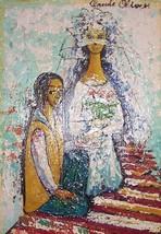 """Vintage Claude Olivier """"The Wedding"""" bride & groom art oil painting - $1,807.74"""