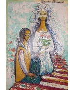 "Vintage Claude Olivier ""The Wedding"" bride & groom art oil painting - $1,807.74"