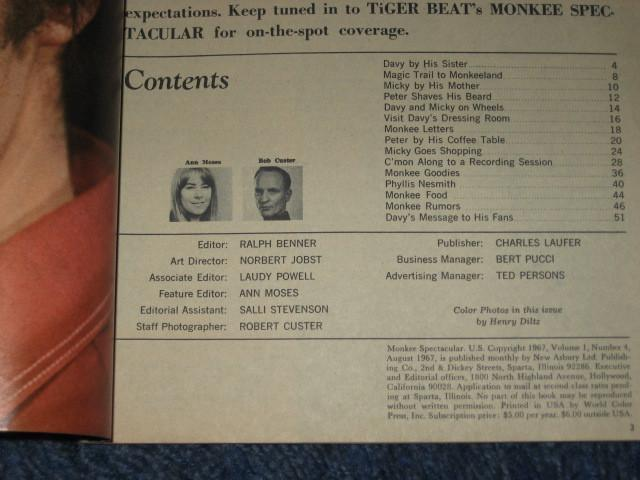 Official Monkee Spectacular -Vol 1 #4- Tiger Beat Magazine Aug '67