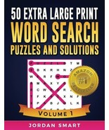 50 Extra Large Print Word Search Puzzles and Solutions: Easy-to-see Full... - $10.84