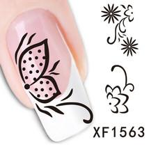 Nail Art Water Transfer Sticker Decal Stickers Pretty Flowers Black XF1563 - $3.19