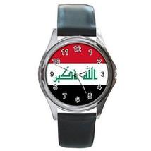 Iraq Flag Round Leather Band Watch Iraqi - $9.39