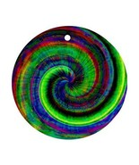 Hippy Tie-Dye Psychedelic Round Porcelain Christmas Ornament - $4.72