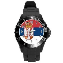Serbia Serbian Flag Round Plastic Black Sport Watch Large Size - $9.39