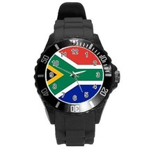 South Africa South African Flag Round Plastic Black Sport Watch Large Size - $9.39