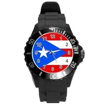 Puerto Rico Puerto Rican Flag Round Plastic Black Sport Watch Large Size - $9.39