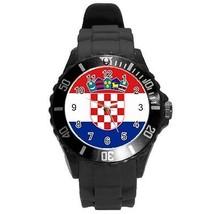 Croatia Croatian Flag Round Plastic Black Sport Watch Large Size - $9.39