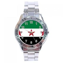 Old Syria Syrian Republic Flag Stainless Steel Analogue Watch - $9.39