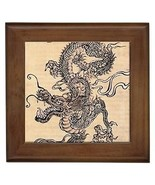 Chinese Dragon Framed Tile Wall Picture - $9.39