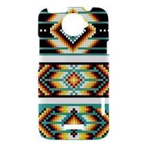 Aqua Orange Black White Tribal Pattern Hardshell Case for HTC One X - $14.07