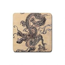 4 Chinese Dragon Square Rubber Coasters - $4.72