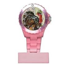 Thanksgiving Turkey Time to Get Away Round Womans Pink Nurse Watch - $9.39