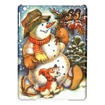 Christmas Snowman Puppy Dog Birds Hardshell Case for ipad Air - $18.74
