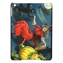 Halloween Witch Black Cat Scarecrow Full Moon Hardshell Case for ipad Air - $18.74