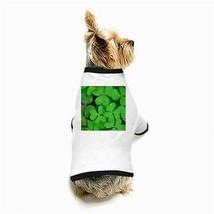 St Patricks Day 3 Leaf Clovers White Dog T-Shirt - $11.26