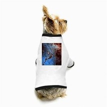 Blue Space Dust Nebula Galaxy Universe Outer Space White Puppy Dog T-Shirt - $11.26