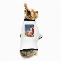 A Merry Christmas Santa Claus Reindeer Sleigh Presents White Puppy Dog T-Shirt - $11.26