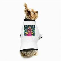 Hippy Tie-Dye Psychedelic Mushrooms White Puppy Dog T-Shirt - $11.26