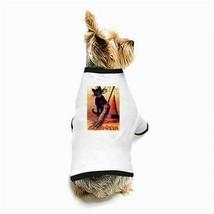 Halloween Black Cat Witch Hat Broom White Puppy Dog T-Shirt - $11.26