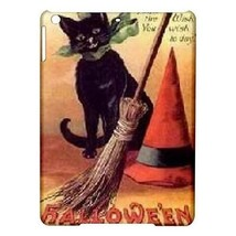 Halloween Black Cat Kitty Kat Witch Hat Broom Hardshell Case for ipad Air - $18.74