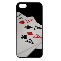 Four of a Kind Aces Poker Cards Casino Seamless Black Case for iphone 5S - $14.07