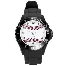Baseball Round Plastic Black Sport Watch Large Size - $9.39