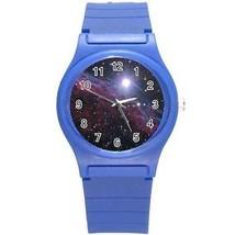 Block Big Nebula Galaxy Universe Outer Space Round Blue Plastic Sport Watch - $8.46