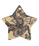 Chinese Dragon Star Shaped Porcelain Christmas Ornament - $4.72