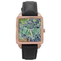 Van Gogh Irises Rose Gold Leather Watch - $11.26