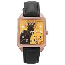 Le Chat Noir Black Cat Rose Gold Leather Watch - $11.26