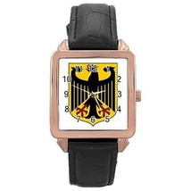 Germany German Coat of Arms Rose Gold Leather Watch - $11.26