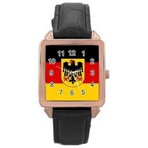 Germany German Flag Rose Gold Leather Watch - $11.26