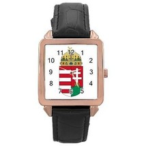 Hungary Hungarian Coat of Arms Rose Gold Leather Watch - $11.26