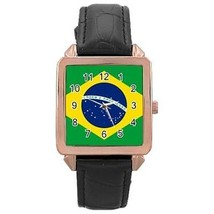 Brazil Brazilian Flag Rose Gold Leather Watch - $11.26