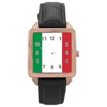 Italy Italian Flag Rose Gold Leather Watch - $11.26