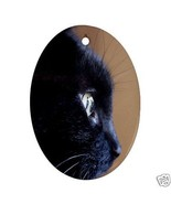 Black Cat Oval Christmas Ornament New - $4.72