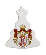 Serbia Serbian Coat of Arms Porcelain Christmas Tree Shaped Ornament - $4.72